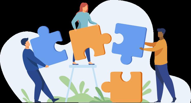 Illustration de trois personnages en train de porter chacun une pièce du puzzle pour essayer de les assembler